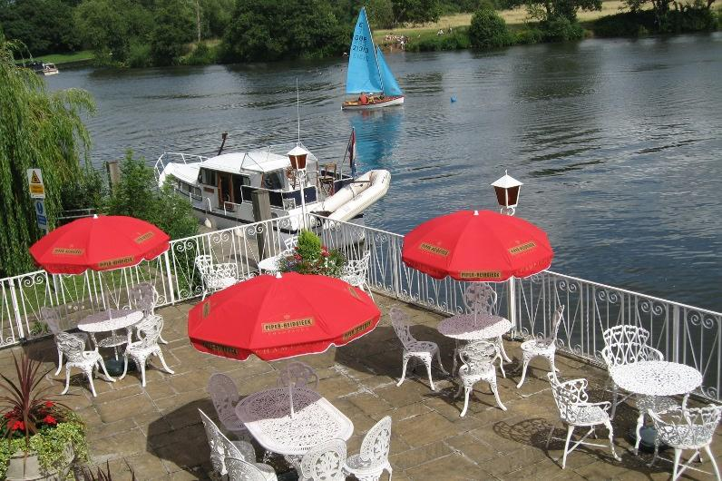 Our popular terrace overlooking the river